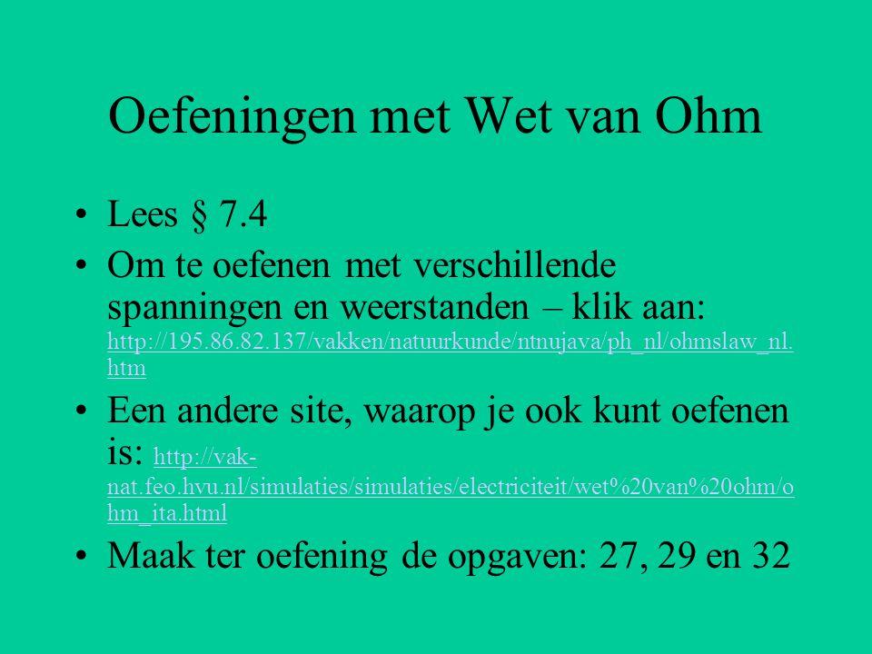 Oefeningen met Wet van Ohm