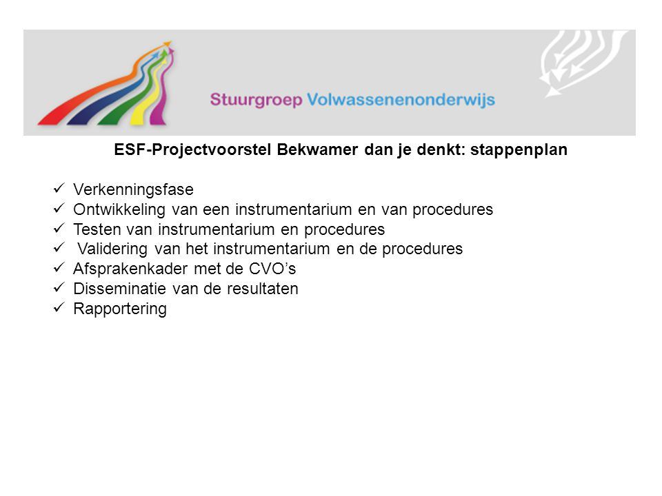 ESF-Projectvoorstel Bekwamer dan je denkt: stappenplan