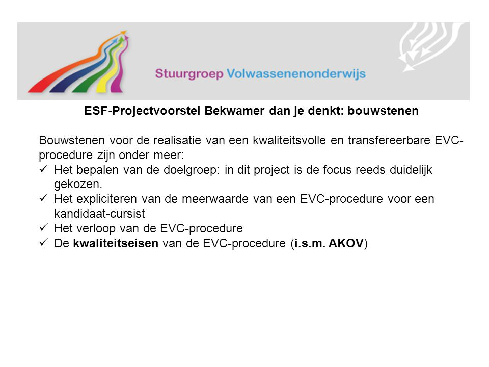 ESF-Projectvoorstel Bekwamer dan je denkt: bouwstenen