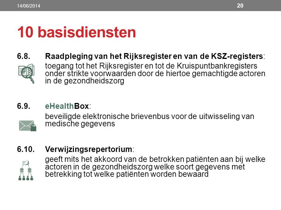 14/06/2014 10 basisdiensten. 6.8. Raadpleging van het Rijksregister en van de KSZ-registers: