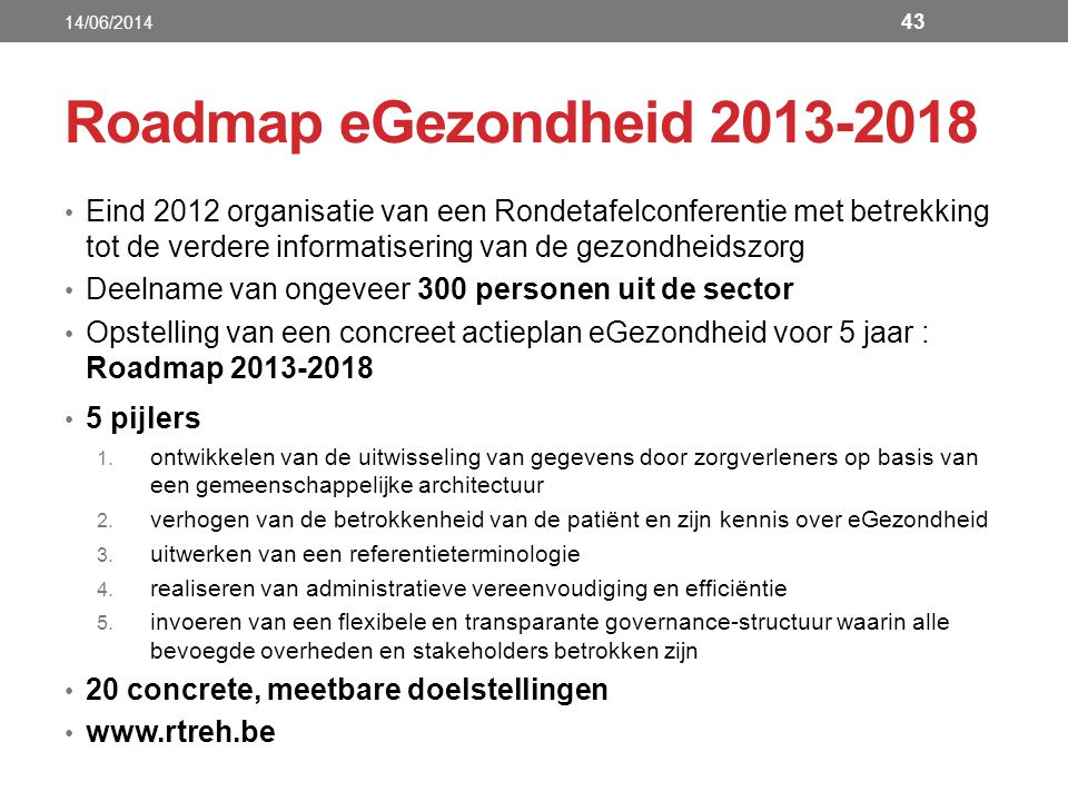 14/06/2014 Roadmap eGezondheid 2013-2018.
