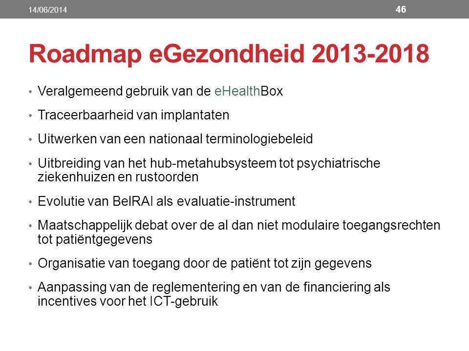 Roadmap eGezondheid 2013-2018 Veralgemeend gebruik van de eHealthBox