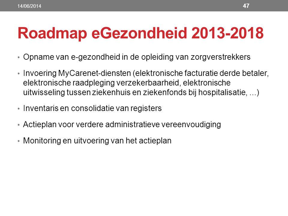 14/06/2014 Roadmap eGezondheid 2013-2018. Opname van e-gezondheid in de opleiding van zorgverstrekkers.