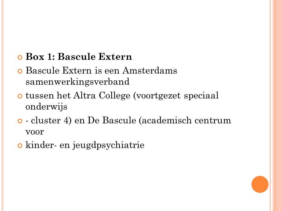 Box 1: Bascule Extern Bascule Extern is een Amsterdams samenwerkingsverband. tussen het Altra College (voortgezet speciaal onderwijs.