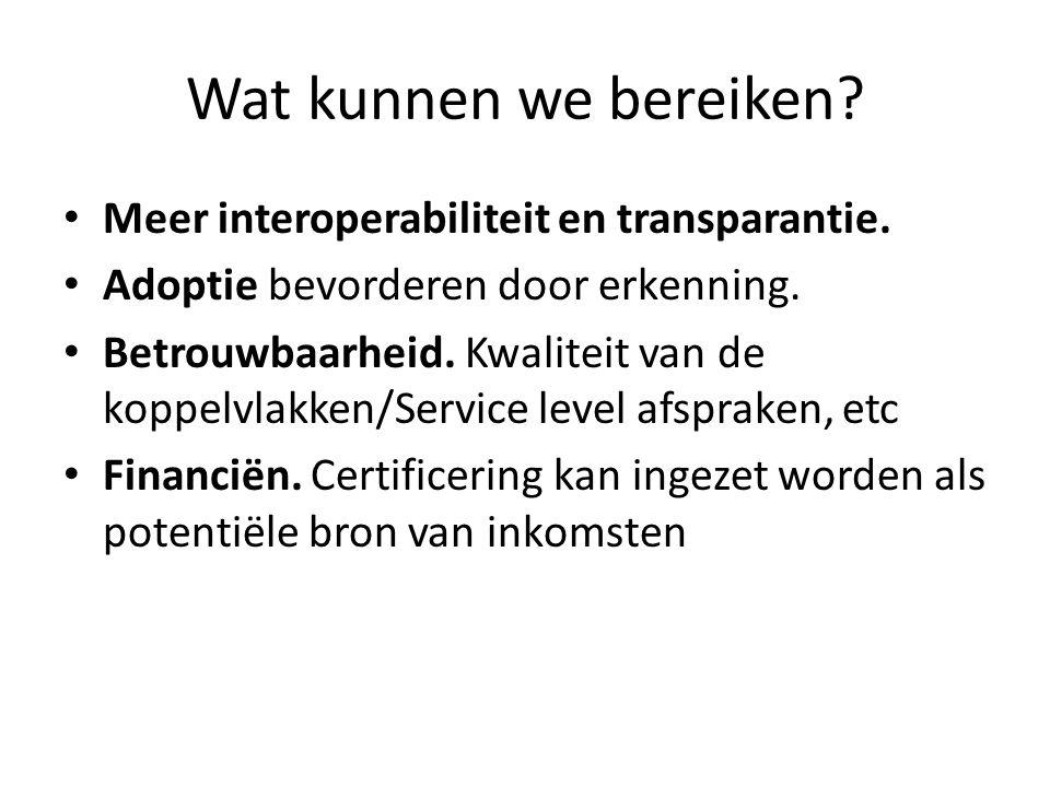 Wat kunnen we bereiken Meer interoperabiliteit en transparantie.