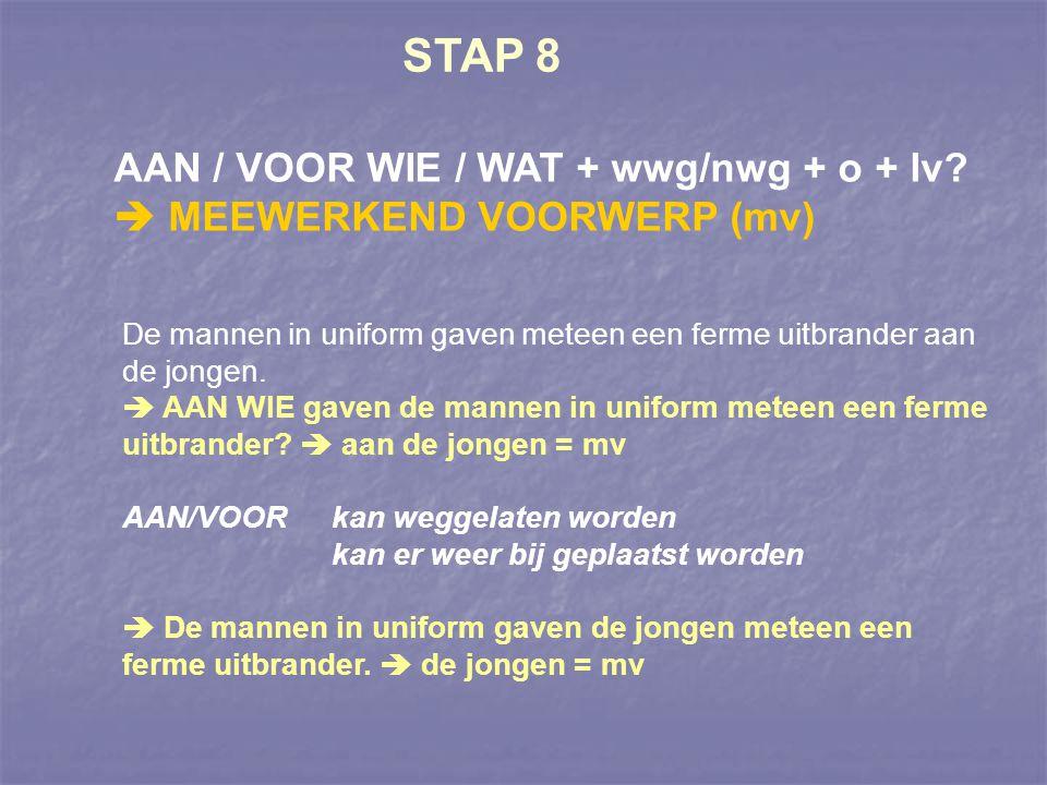 STAP 8 AAN / VOOR WIE / WAT + wwg/nwg + o + lv  MEEWERKEND VOORWERP (mv) De mannen in uniform gaven meteen een ferme uitbrander aan de jongen.