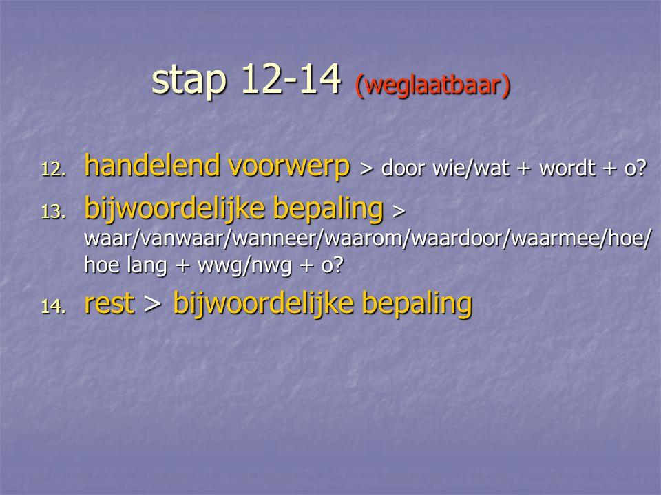 stap 12-14 (weglaatbaar) handelend voorwerp > door wie/wat + wordt + o