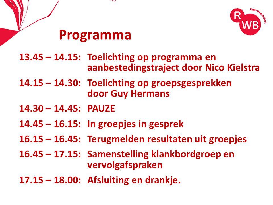 Programma 13.45 – 14.15: Toelichting op programma en aanbestedingstraject door Nico Kielstra.