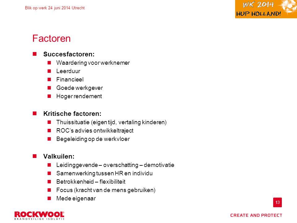 Factoren Succesfactoren: Kritische factoren: Valkuilen: