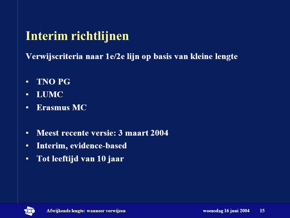 Interim richtlijnen Verwijscriteria naar 1e/2e lijn op basis van kleine lengte. TNO PG. LUMC. Erasmus MC.