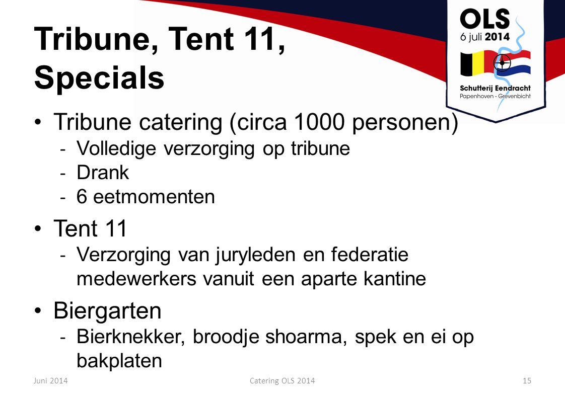 Tribune, Tent 11, Specials Tribune catering (circa 1000 personen)
