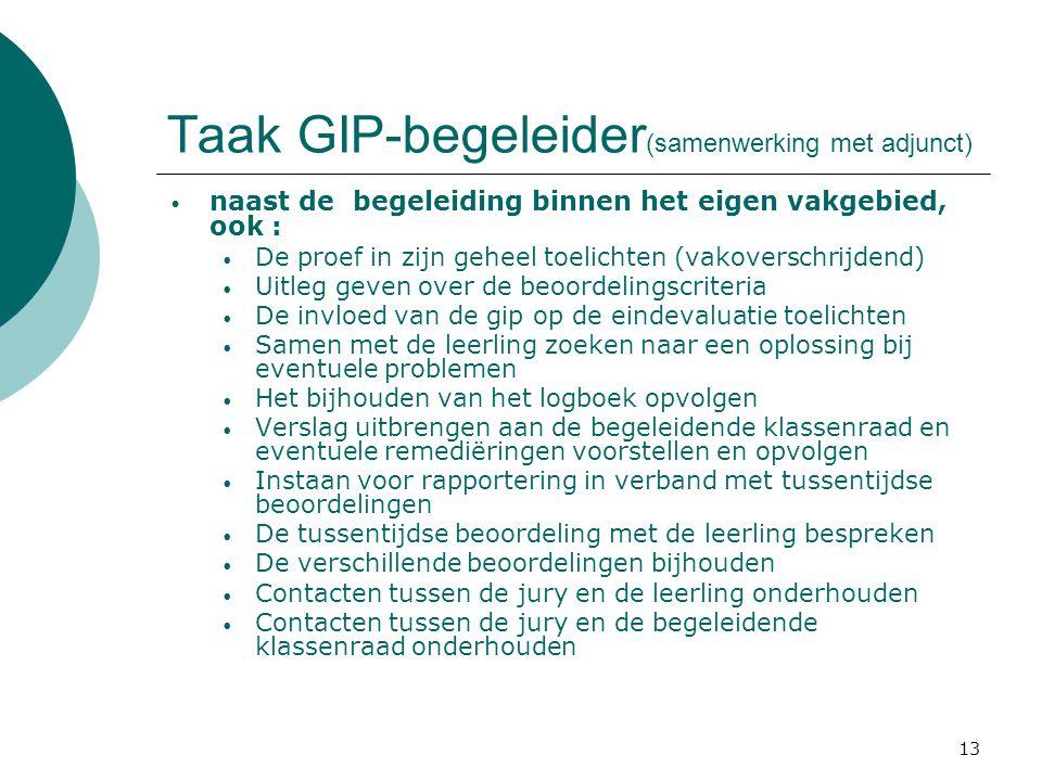 Taak GIP-begeleider(samenwerking met adjunct)