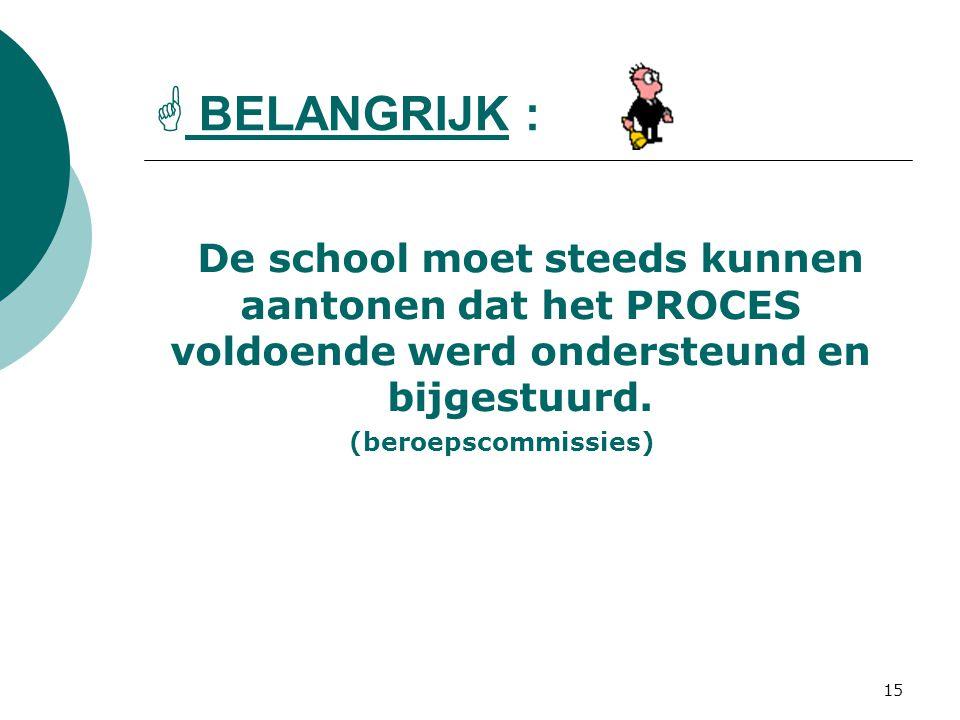 16/09/2008  BELANGRIJK : De school moet steeds kunnen aantonen dat het PROCES voldoende werd ondersteund en bijgestuurd.