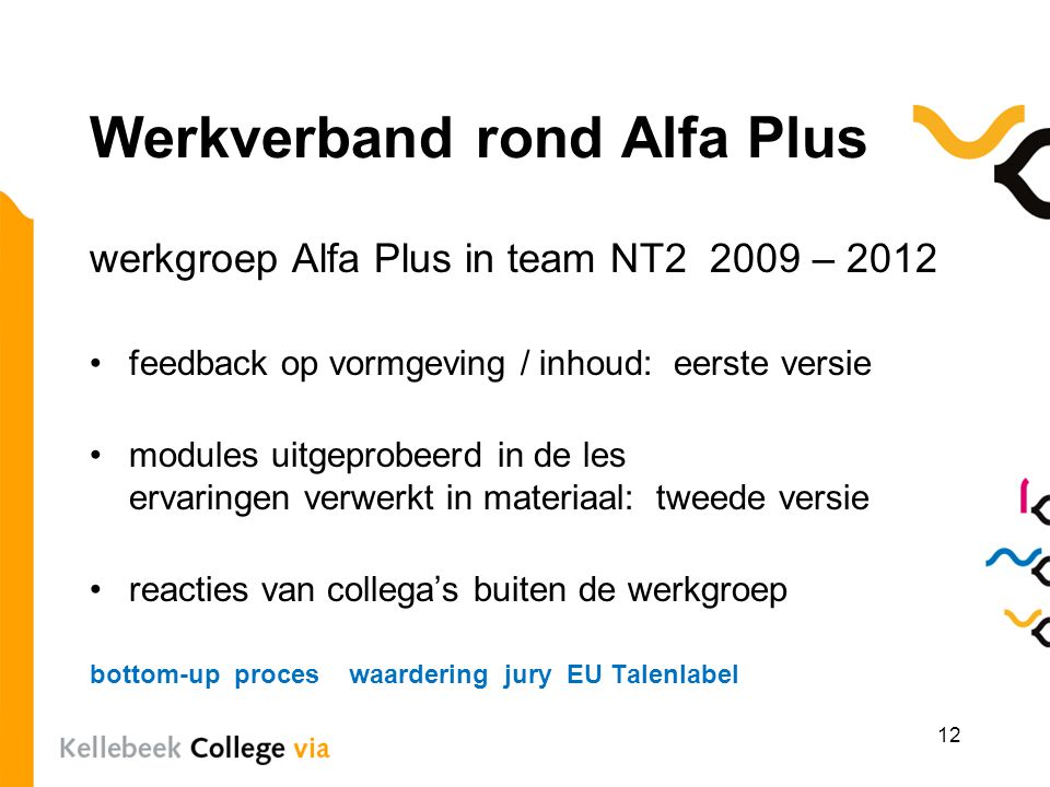 Werkverband rond Alfa Plus