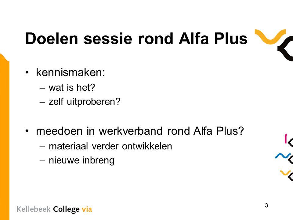 Doelen sessie rond Alfa Plus