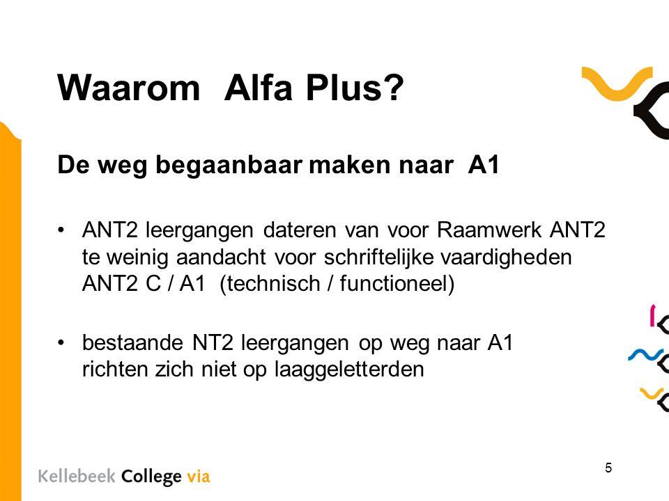 Waarom Alfa Plus De weg begaanbaar maken naar A1