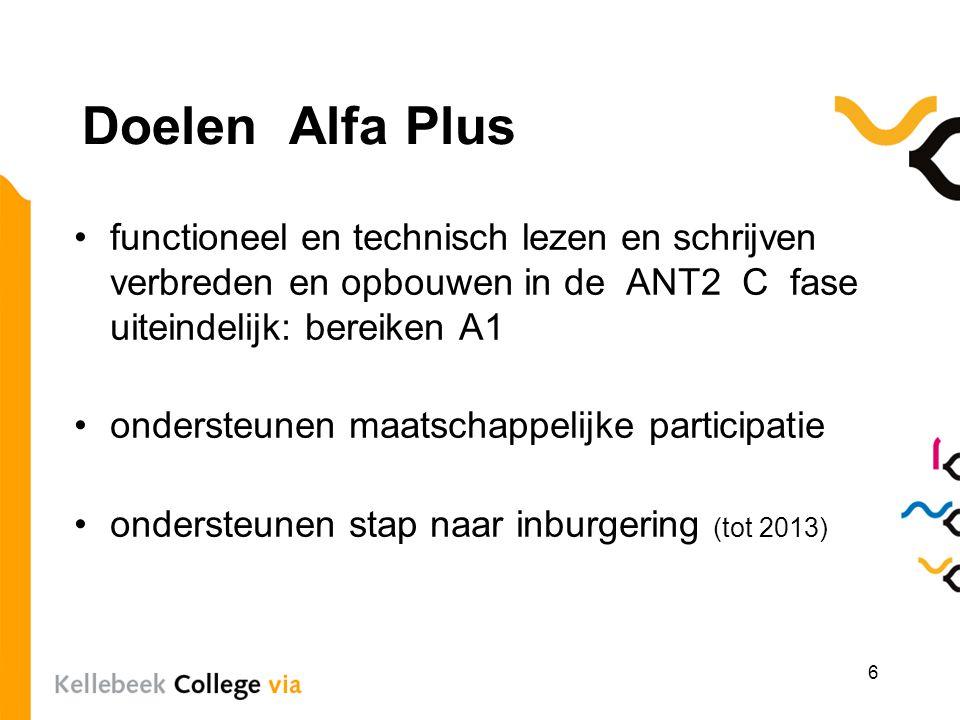 Doelen Alfa Plus functioneel en technisch lezen en schrijven verbreden en opbouwen in de ANT2 C fase uiteindelijk: bereiken A1.