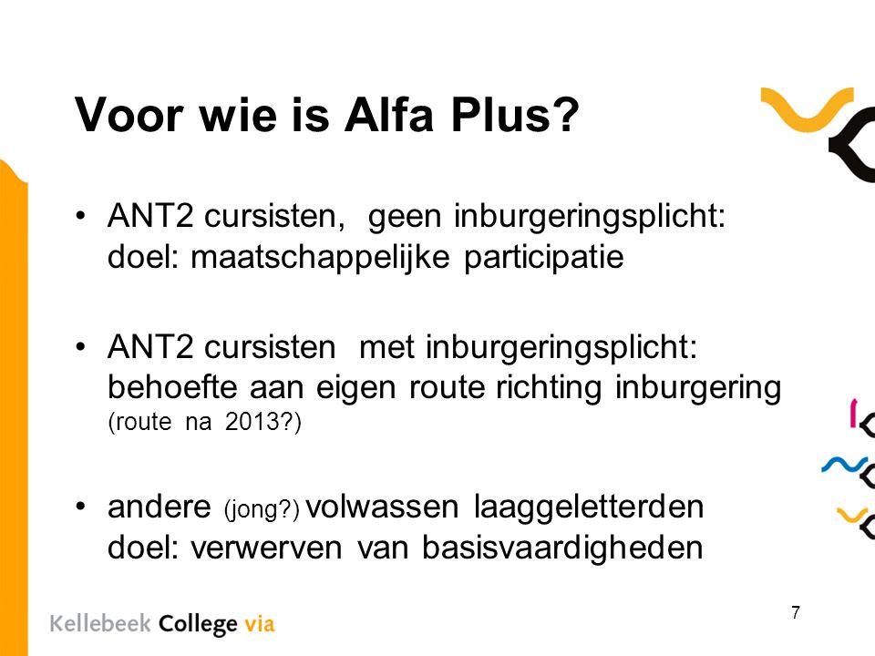 Voor wie is Alfa Plus ANT2 cursisten, geen inburgeringsplicht: doel: maatschappelijke participatie.