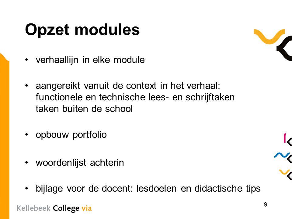 Opzet modules verhaallijn in elke module