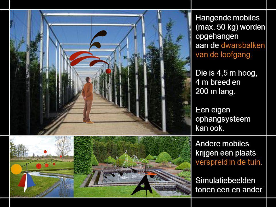 Hangende mobiles (max. 50 kg) worden opgehangen. aan de dwarsbalken. van de loofgang. Die is 4,5 m hoog,