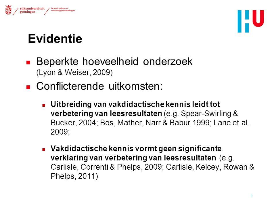 Evidentie Beperkte hoeveelheid onderzoek (Lyon & Weiser, 2009)