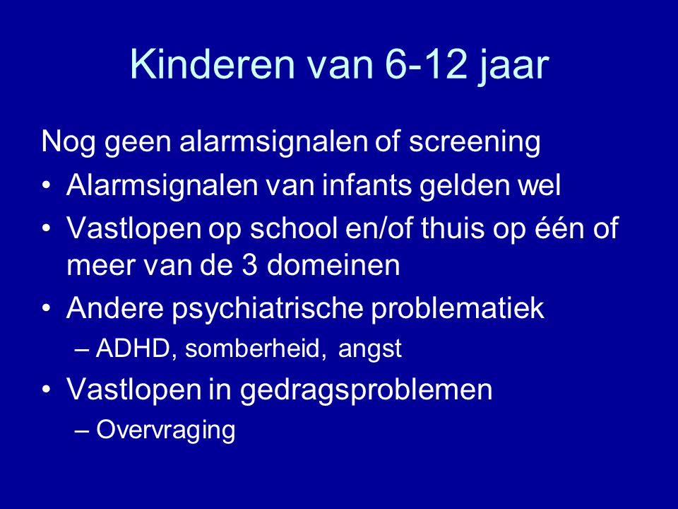 Kinderen van 6-12 jaar Nog geen alarmsignalen of screening