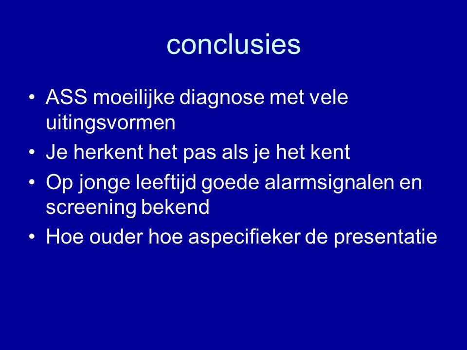 conclusies ASS moeilijke diagnose met vele uitingsvormen
