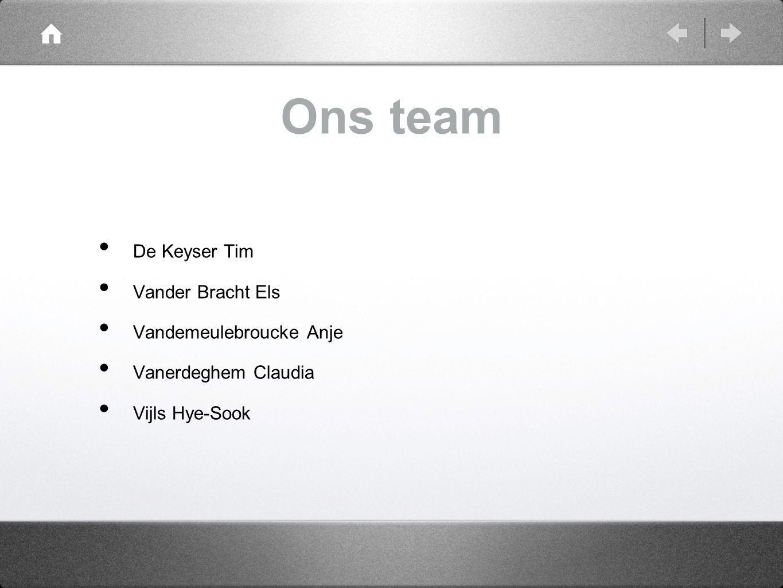 Ons team De Keyser Tim Vander Bracht Els Vandemeulebroucke Anje
