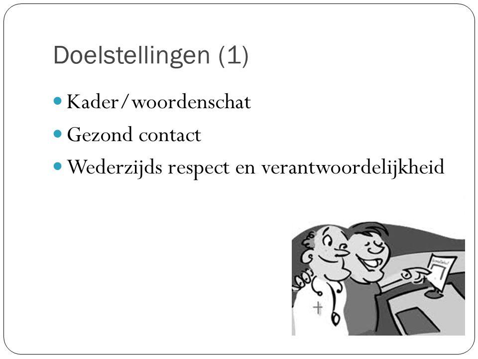 Doelstellingen (1) Kader/woordenschat Gezond contact