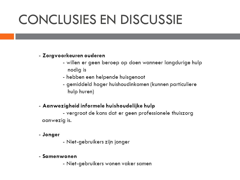 CONCLUSIES EN DISCUSSIE