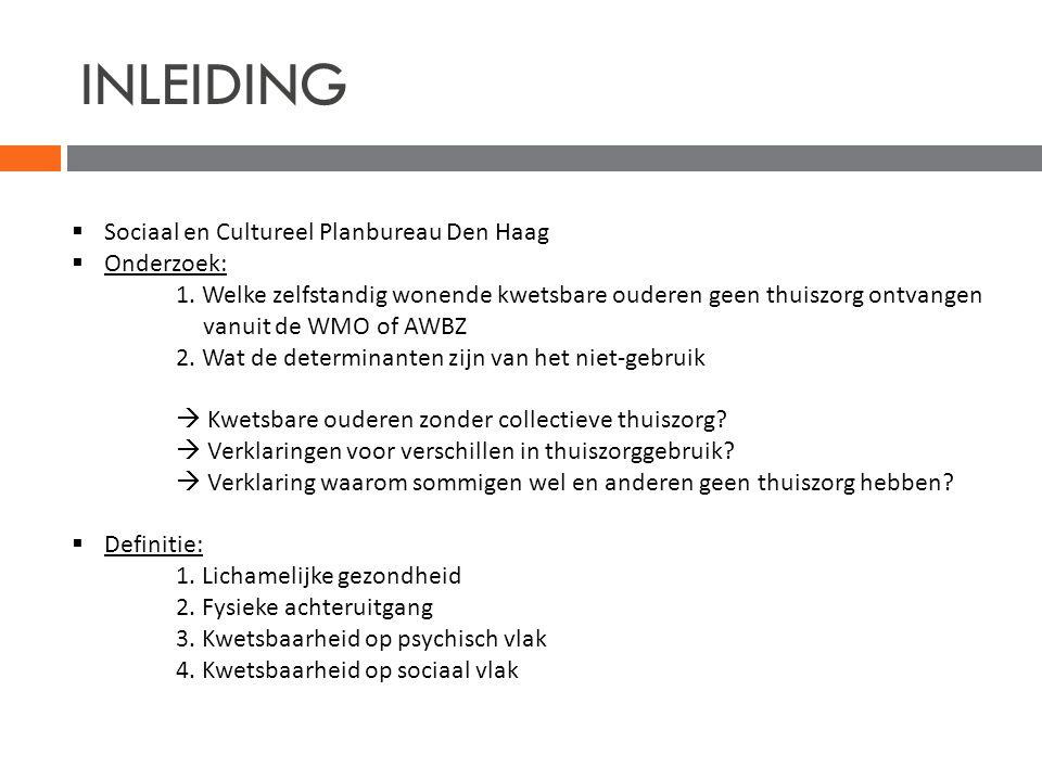 INLEIDING Sociaal en Cultureel Planbureau Den Haag Onderzoek: