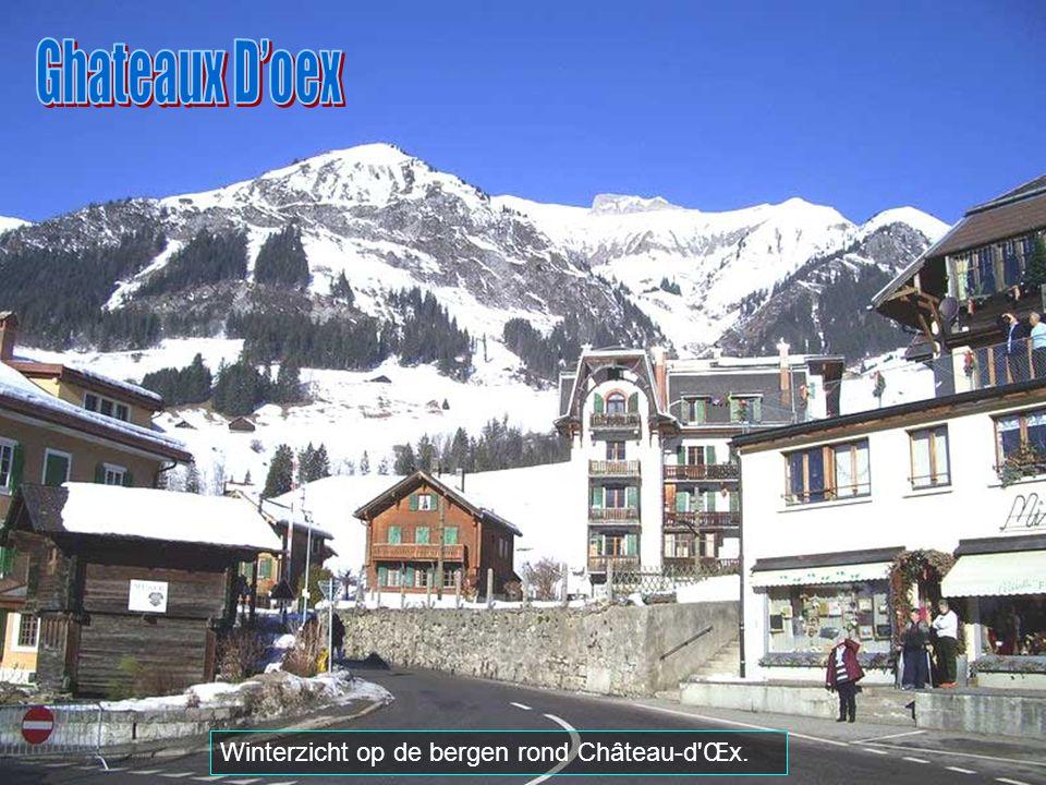Ghateaux D'oex Winterzicht op de bergen rond Château-d Œx.