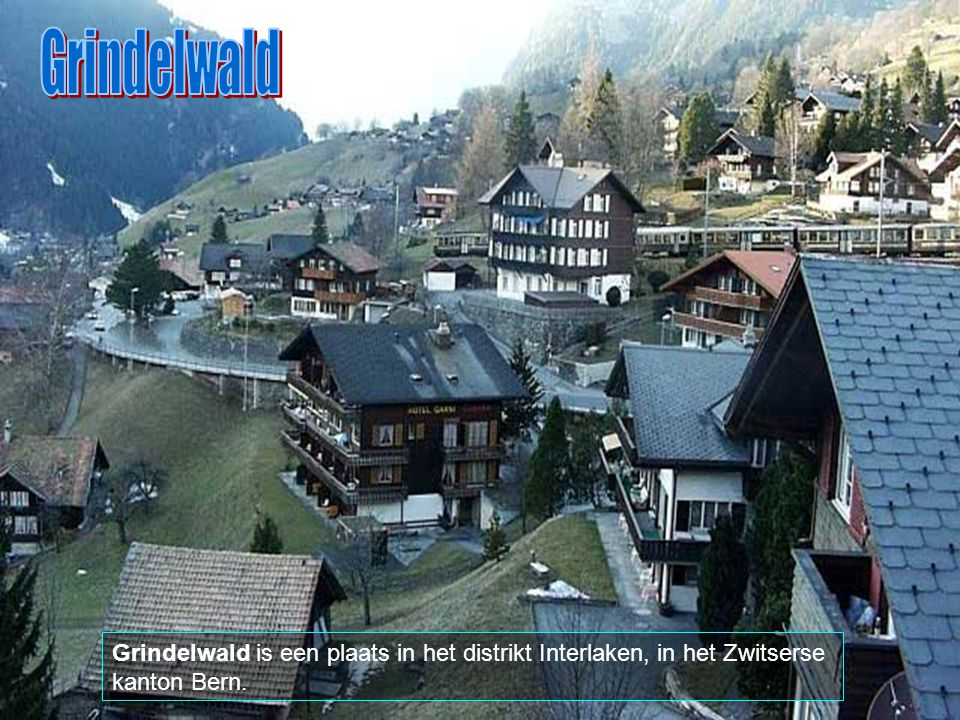 Grindelwald Grindelwald is een plaats in het distrikt Interlaken, in het Zwitserse kanton Bern.