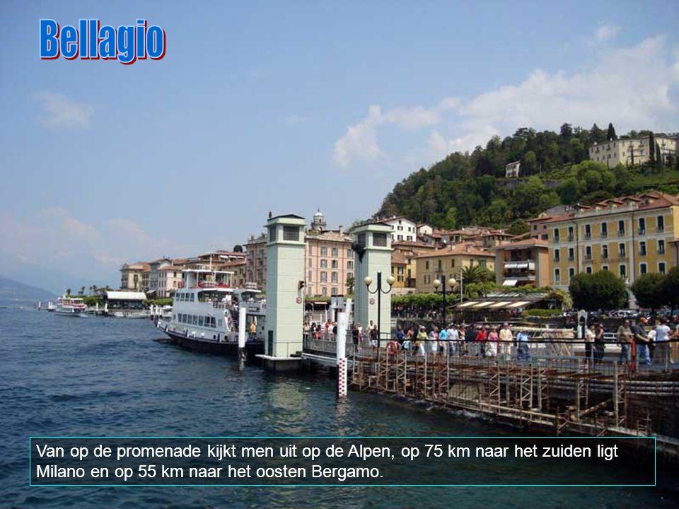 Bellagio Van op de promenade kijkt men uit op de Alpen, op 75 km naar het zuiden ligt Milano en op 55 km naar het oosten Bergamo.
