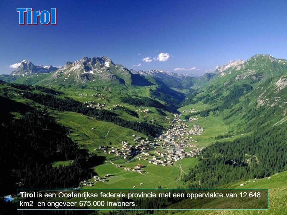 Tirol Tirol is een Oostenrijkse federale provincie met een oppervlakte van 12.648 km2 en ongeveer 675.000 inwoners.
