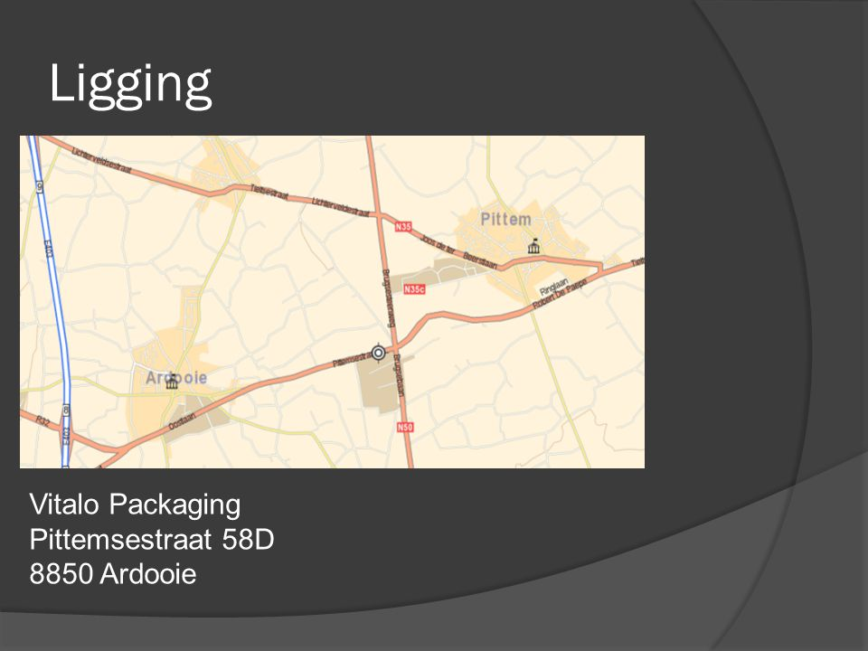 Ligging Vitalo Packaging Pittemsestraat 58D 8850 Ardooie