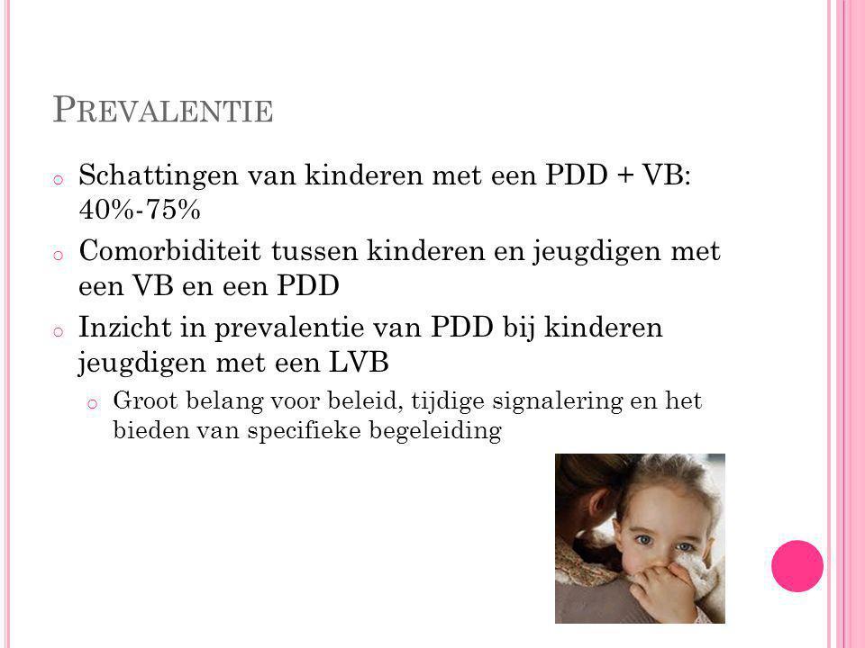 Prevalentie Schattingen van kinderen met een PDD + VB: 40%-75%
