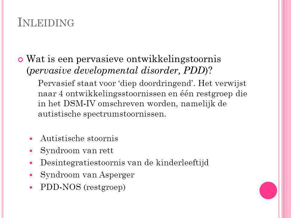Inleiding Wat is een pervasieve ontwikkelingstoornis (pervasive developmental disorder, PDD)