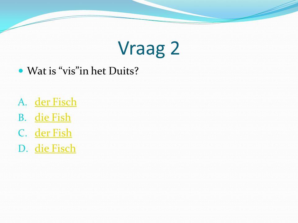 Vraag 2 Wat is vis in het Duits der Fisch die Fish der Fish