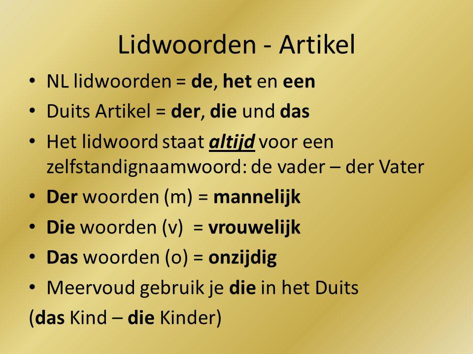 Lidwoorden - Artikel NL lidwoorden = de, het en een
