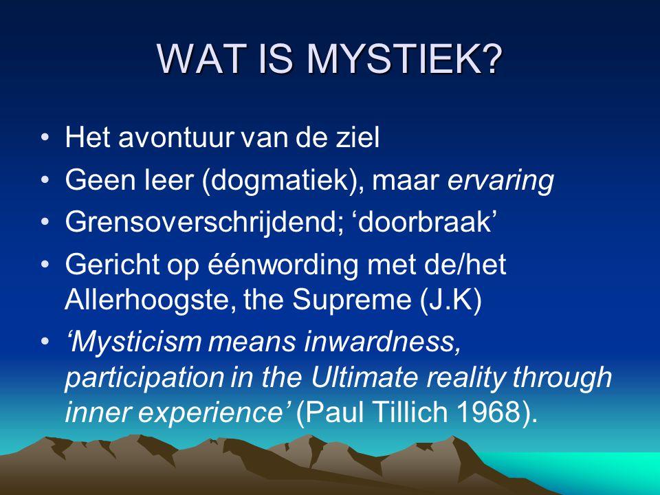 WAT IS MYSTIEK Het avontuur van de ziel