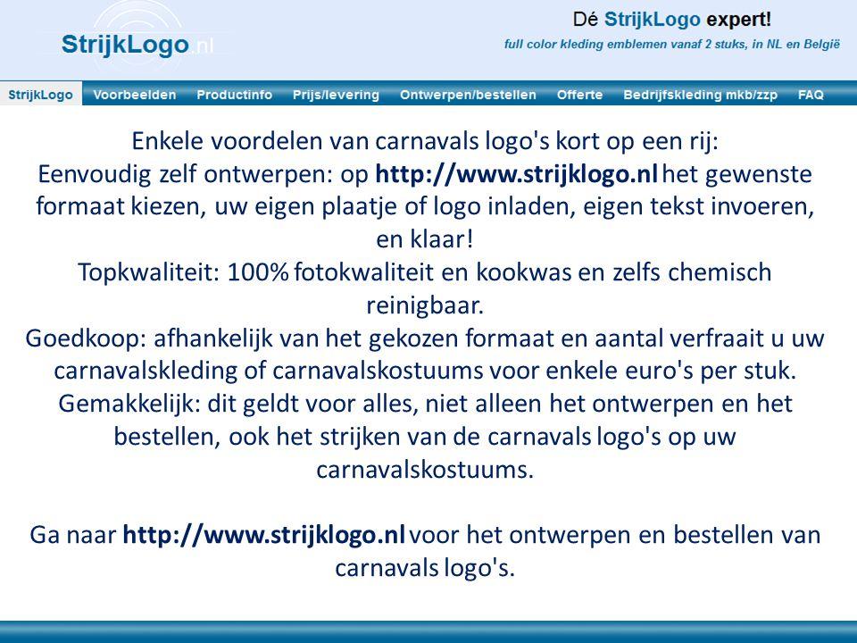 Enkele voordelen van carnavals logo s kort op een rij: