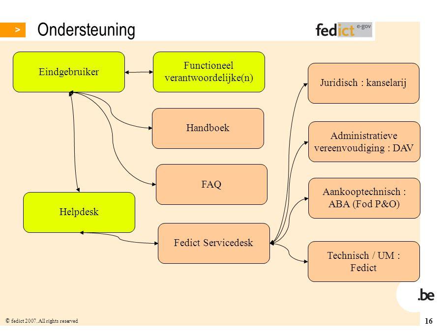 Ondersteuning Functioneel verantwoordelijke(n) Eindgebruiker