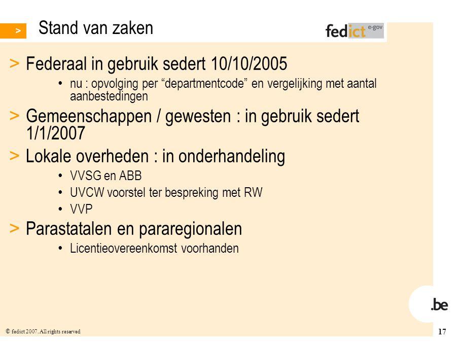 Federaal in gebruik sedert 10/10/2005