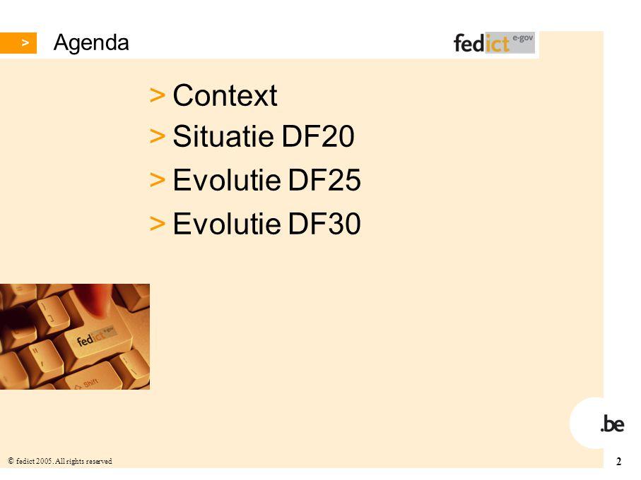 Agenda Context Situatie DF20 Evolutie DF25 Evolutie DF30