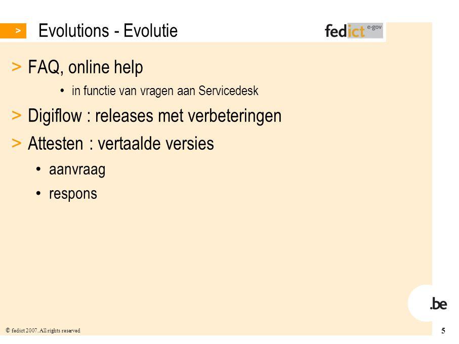 Digiflow : releases met verbeteringen Attesten : vertaalde versies