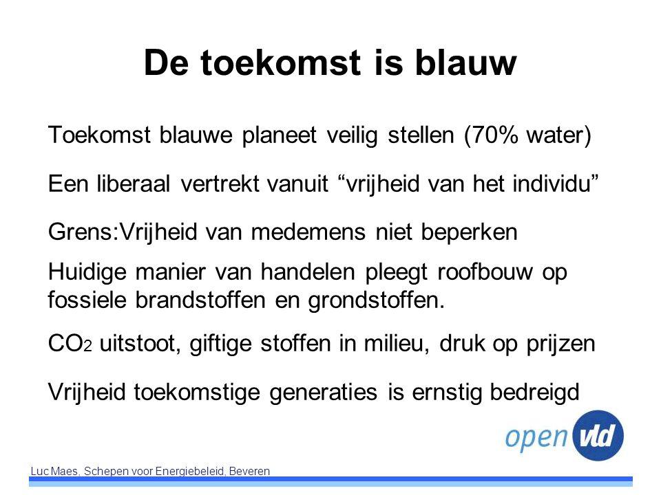 De toekomst is blauw Toekomst blauwe planeet veilig stellen (70% water) Een liberaal vertrekt vanuit vrijheid van het individu