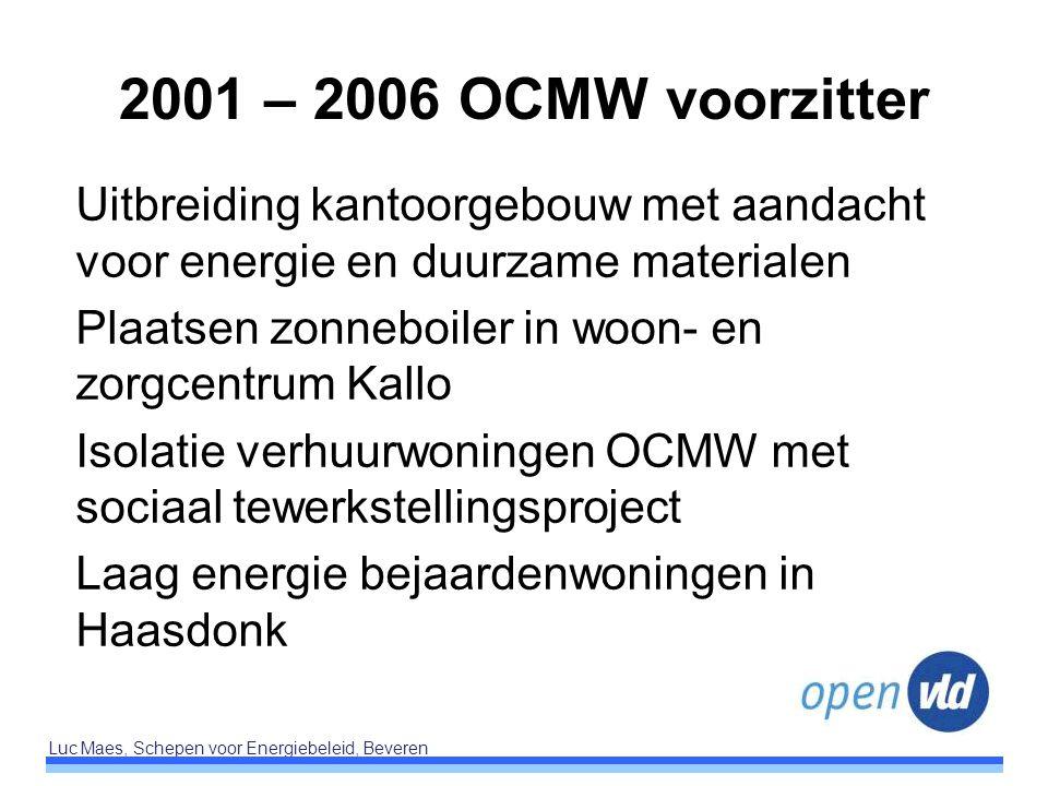 2001 – 2006 OCMW voorzitter Uitbreiding kantoorgebouw met aandacht voor energie en duurzame materialen.