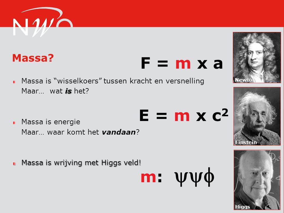 F = m x a E = m x c2 m:  Massa