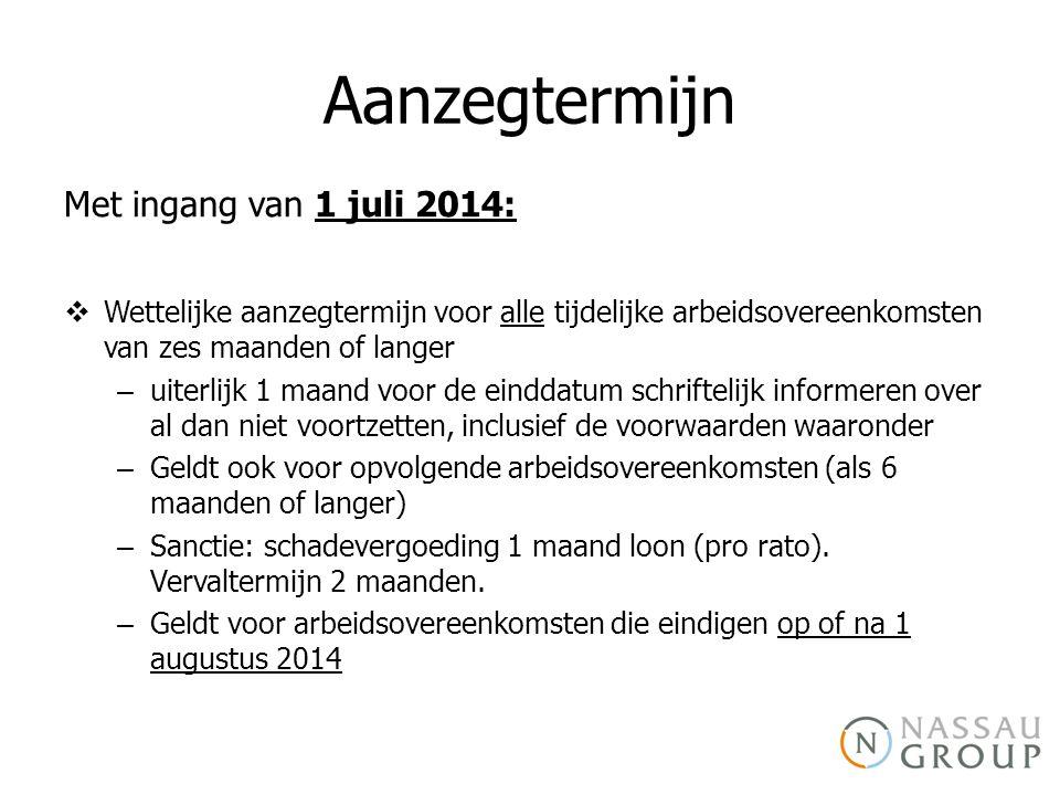 Aanzegtermijn Met ingang van 1 juli 2014: